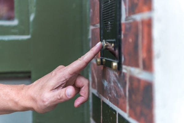Picture of someone ringing door bell