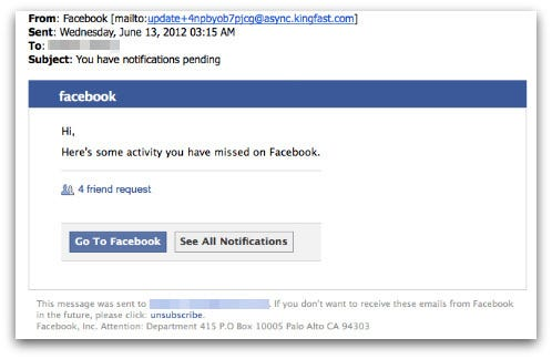 Picture of a fraudulent email from Facebook
