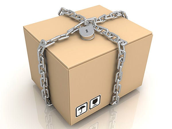 Graphic image of packge with chain and lock around it