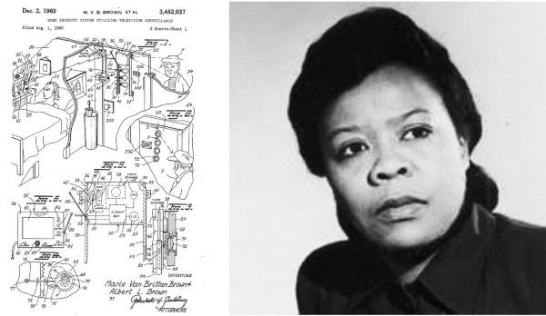 Picture of Marie Van Bitten Brown and her Patent Application