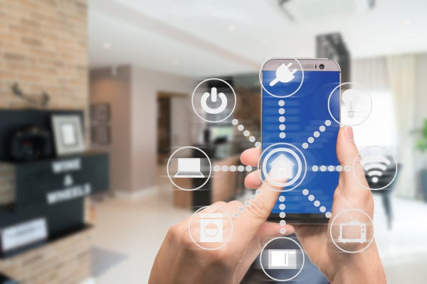 Icons graphically representing a smart home