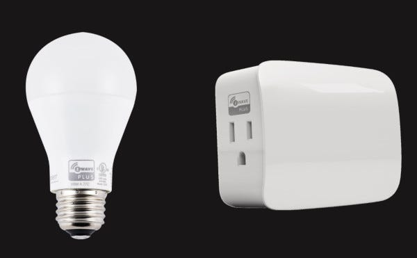 Picture of the Frontpoint Light Bulb and Frontpoint Wireless Light Control