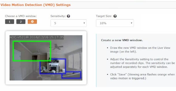 Video of Motion Detection Settings