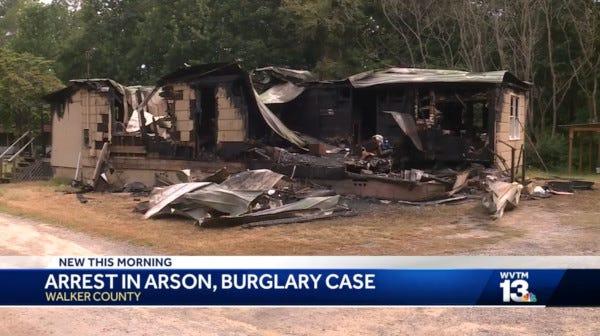 Video of a news clip involving an arson case